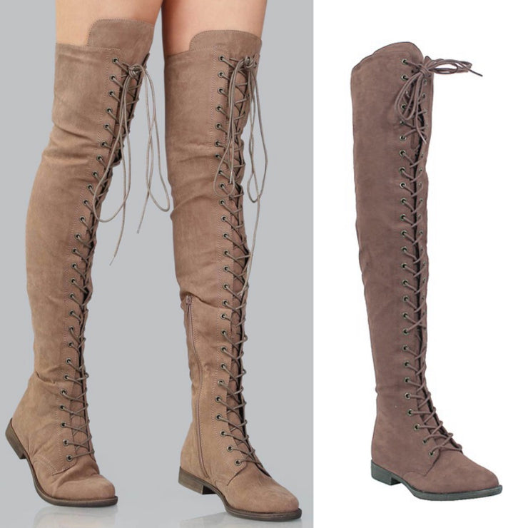 Brooklyn Over The Knee Lace Up Suede Boots (Taupe)