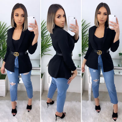 Business Talk Boyfriend Blazer (Black)