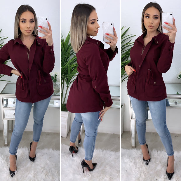 Bold Move Cargo Jacket (Burgundy)