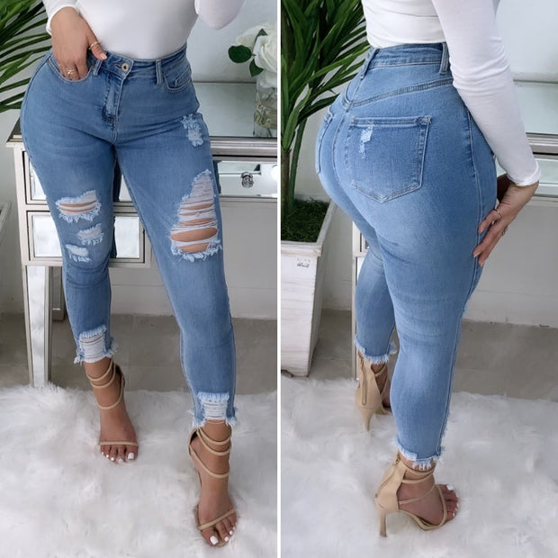 Tommy High Waist Jeans (Light Wash)