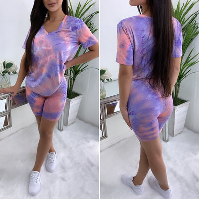Content Biker V-Neck Biker Short Set (Purple Tie-Dye)