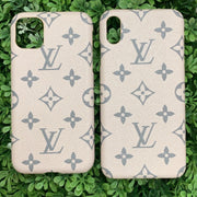 LV Designer IPhone Case (Dusty Blush/Gray)