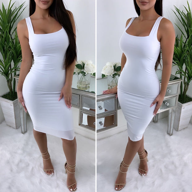 Fitted In All The Right Places Midi Dress (White)
