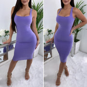 Fitted In All The Right Places Midi Dress (Lavender)