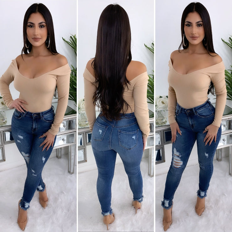 Leslie Off The Shoulder Bodysuit (Nude)