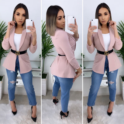 Business Talk Boyfriend Blazer (Blush)