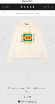 Gucci New Square Logo Over Size Hooded Sweater (Beige)
