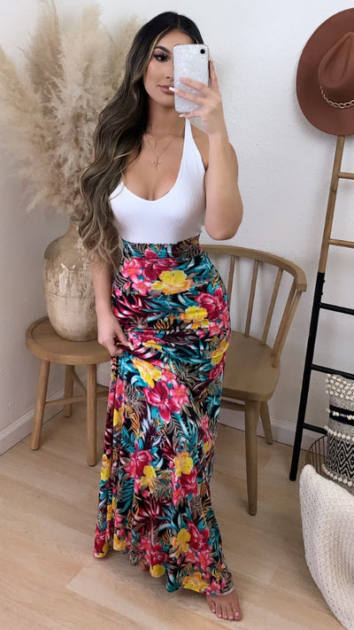 Tropical Night Maxi Skirt (Black Print)