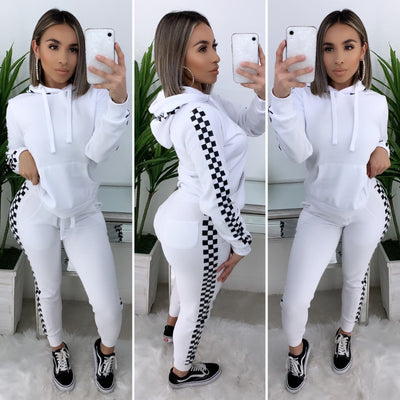 Street Vibez 2PC Checkered Set (White)