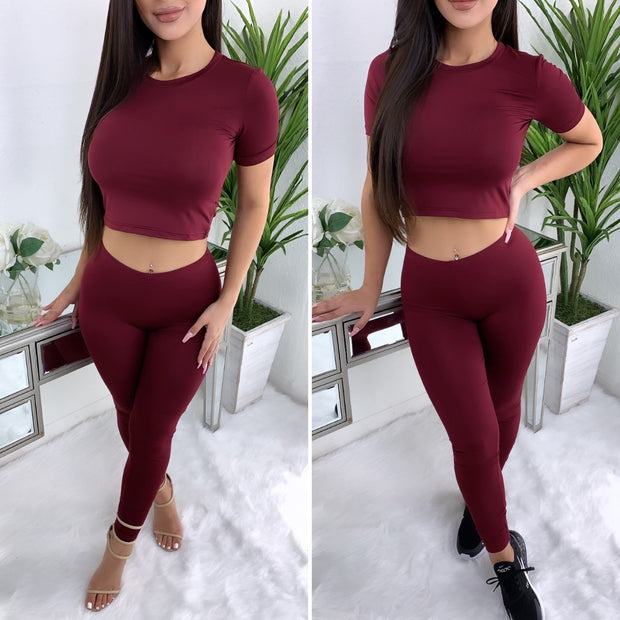 Next To You 2PC Set (Burgundy)