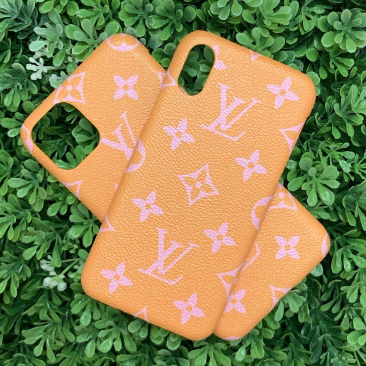 LV Designer IPhone Case (Orange/Pink)