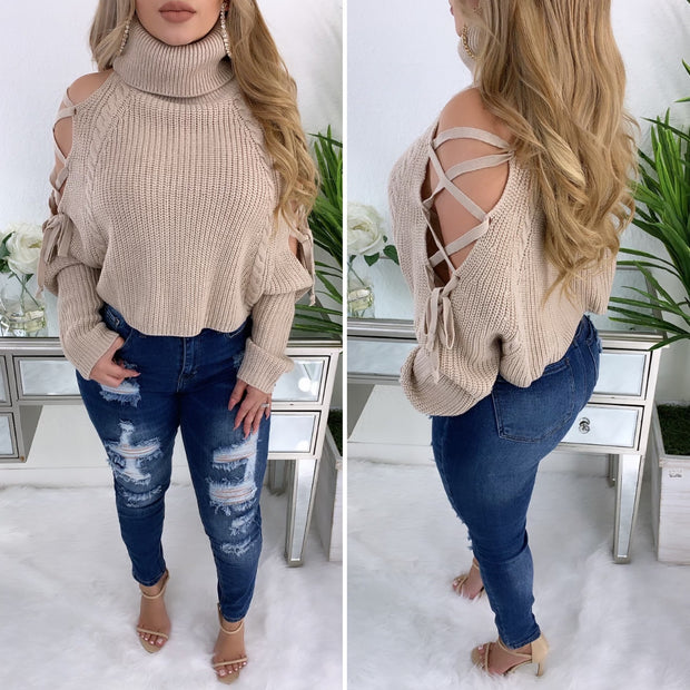 Never Tamed Turtleneck Sweater Top (Taupe)