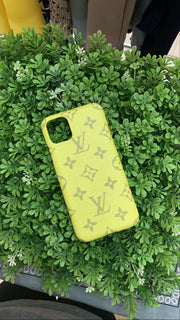 LV Designer IPhone Case (Yellow/Gray)