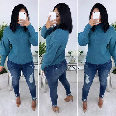 Never To Comfortable Sweater (Dusty Blue)