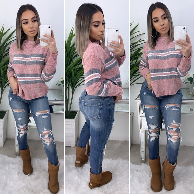 Always Getting Better Stripe Sweater (Pink/Grey)