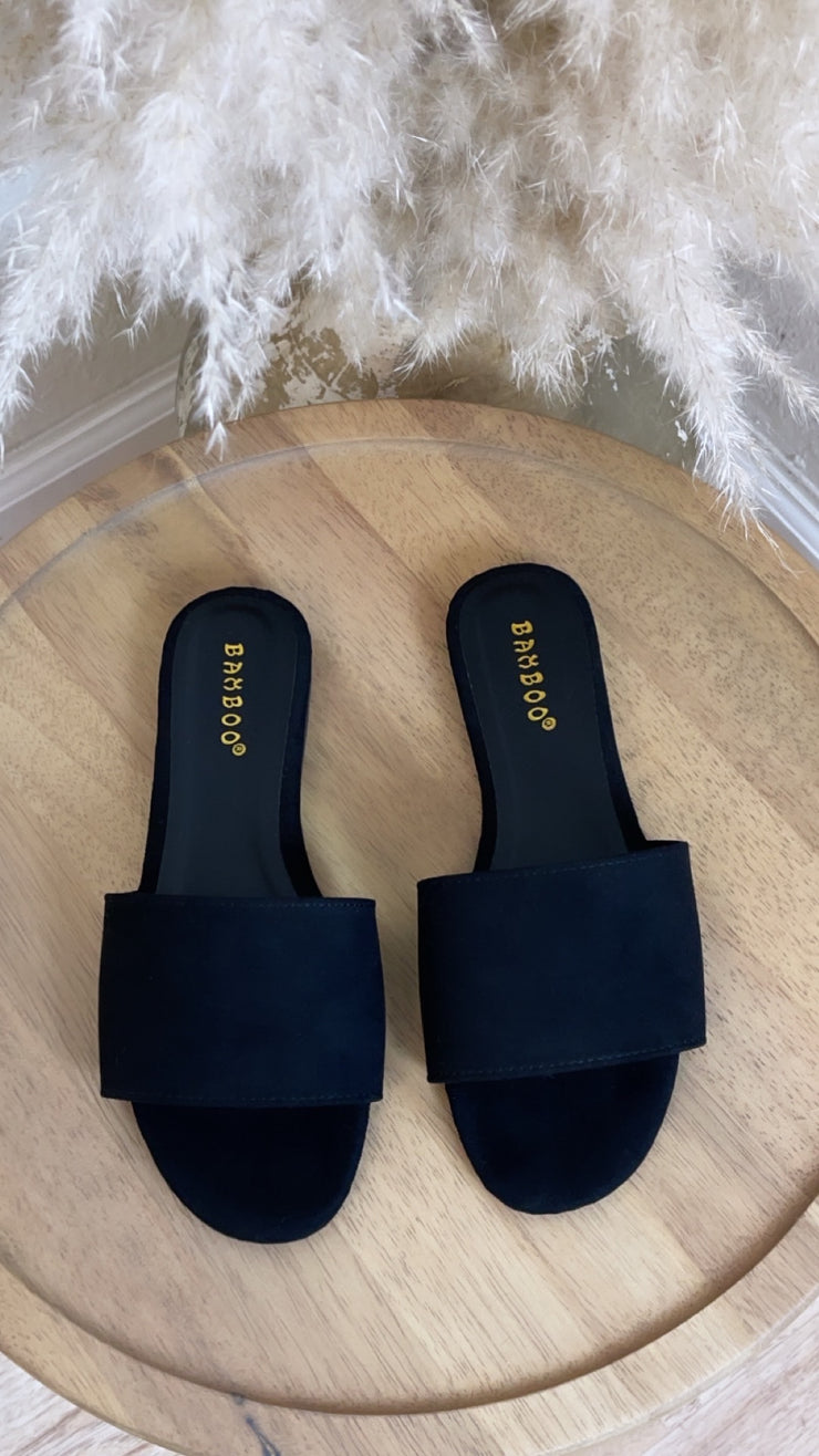 Vacation Suede Slip In Sandal (Black)