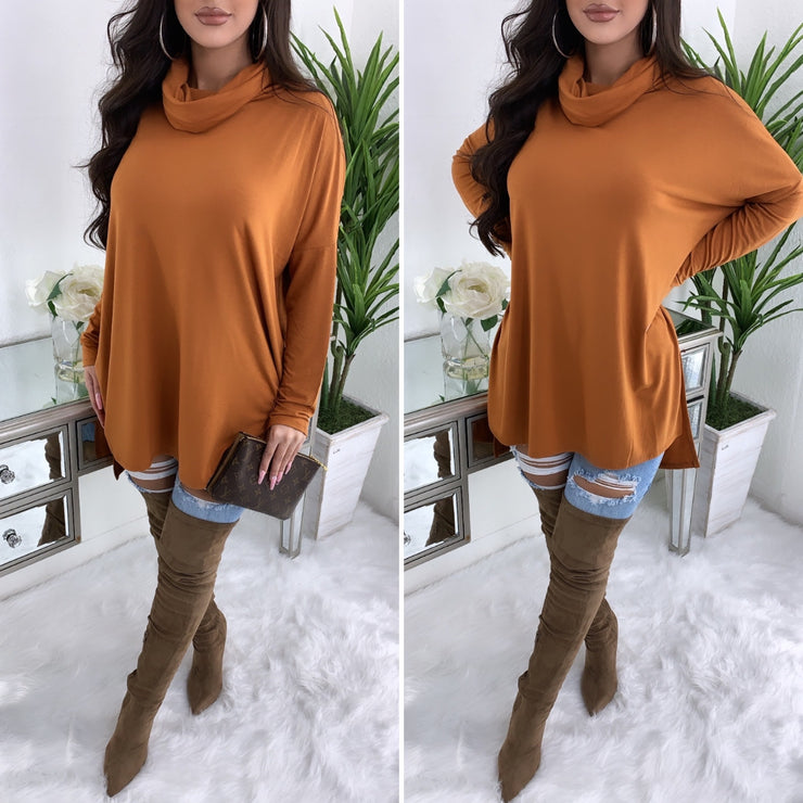 Tara Turtleneck Top (Rust)