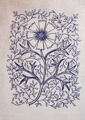 Flower Press - Ocean on White Filigree Tea Towel