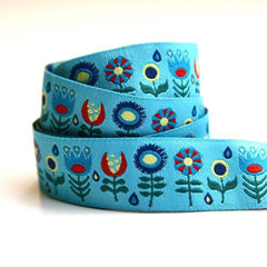 Jessica Jones Ribbon - Light Blue Funky Flowers