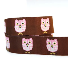 J Caroline Ribbon - Pink Owls on Brown