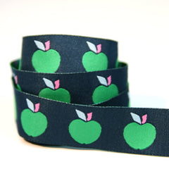 J Caroline Ribbon - Apples on Navy
