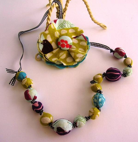 Echino Necklace and Flower brooch