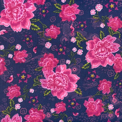 Stenzo - Large Pink Flowers on Blue Cord