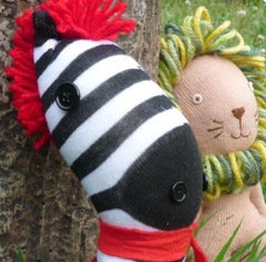 Jojoebi Designs - Parsley the Lion and Trent the Zebra Sock Friends Pattern