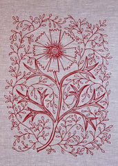 Flower Press - Tomato Filigree Tea Towel