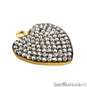 'Heart' CZ Pave Gold Vermeil Charm for Bracelet & Pendants
