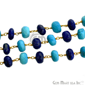 Turquoise With Lapis Beads Gold Plated Wire Wrapped Rosary Chain