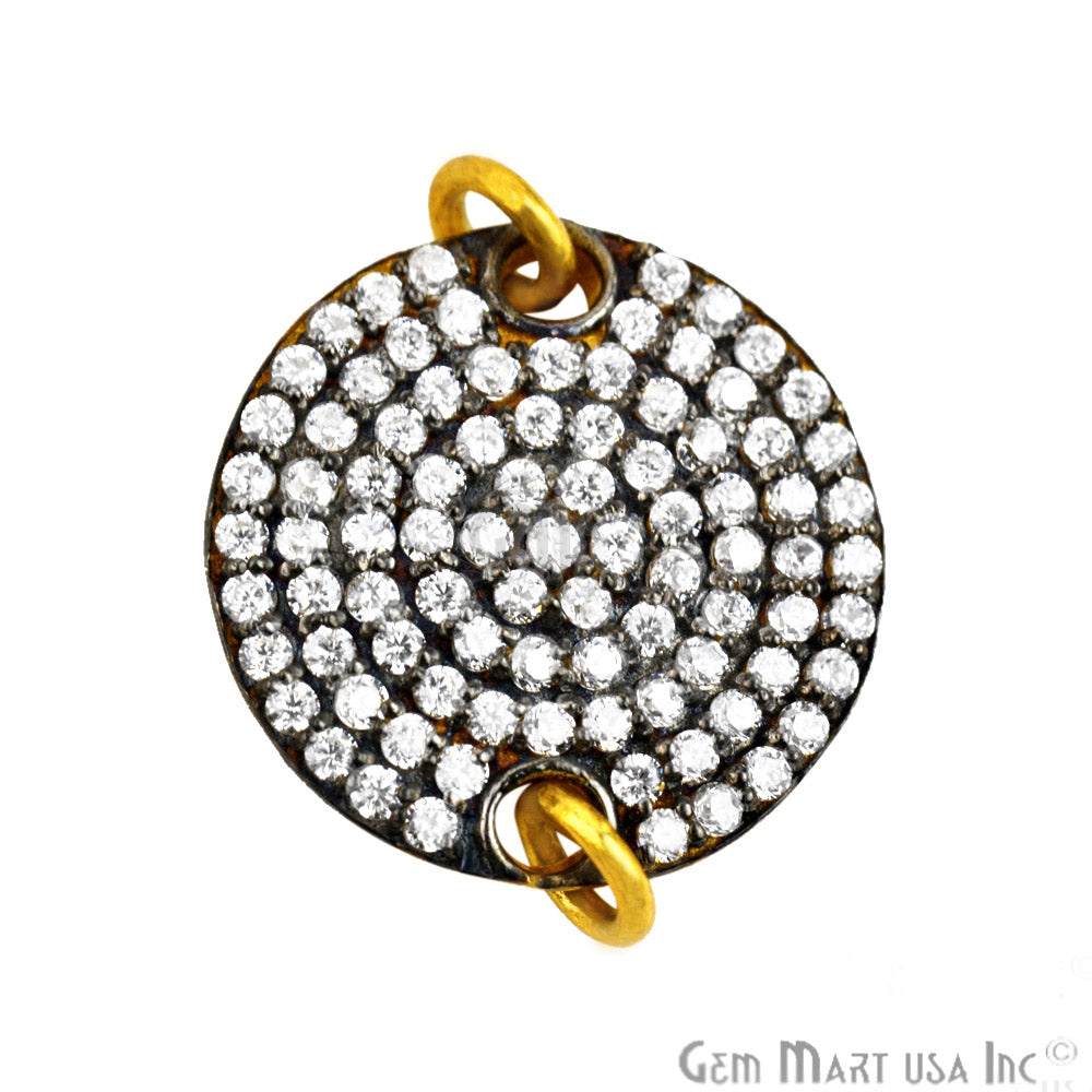 'Dish' Charm Cubic Zircon Pave Gold Vermeil Charm for Bracelet Pendants & Necklace