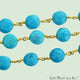 Turquoise Round 7mm Beaded Gold Plated Wire Wrapped Rosary Chain - GemMartUSA