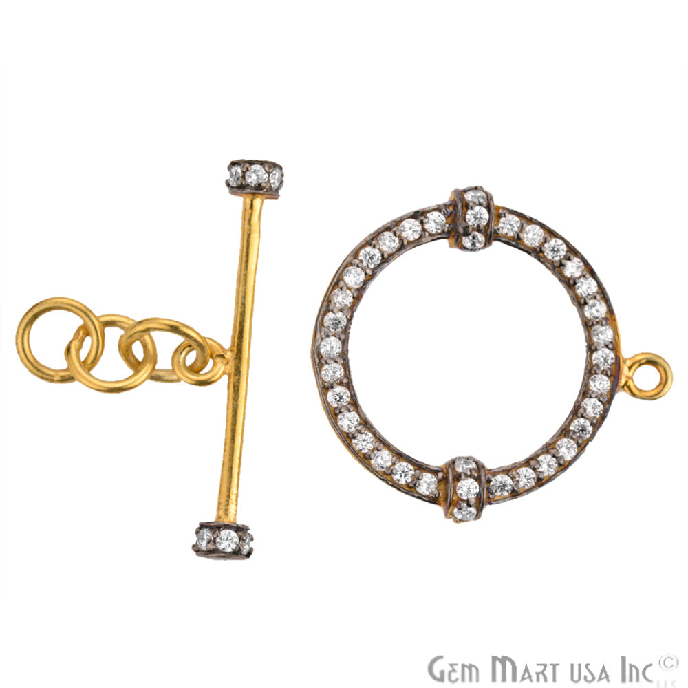 Cubic Zircon Pave 'Fancy Lock' Gold Vermeil Charm for Bracelet Pendants & Necklace