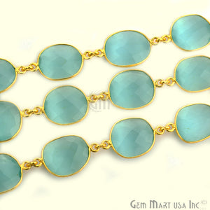Aqua Chalcedony 10-15mm Mix Faceted Shape Gold Continuous Connector Chain - GemMartUSA