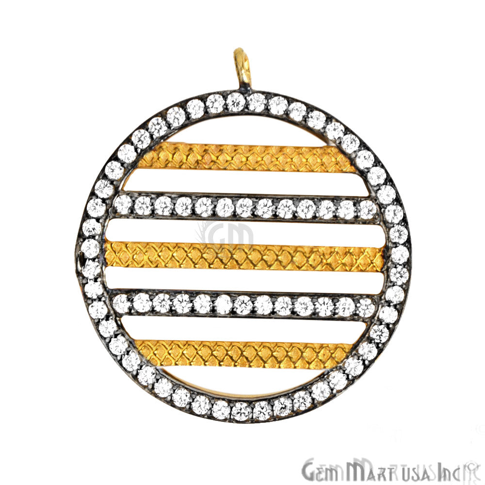 Cubic Zircon Pave Charm Gold Vermeil Charm for Bracelet Pendants & Necklace