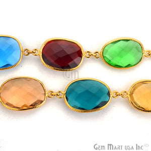 Multi Color 10-15mm Mix Faceted Gold Bezel Continuous Connector Chain