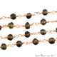 Smokey Topaz Rose Gold Plated Wire Wrapped Beads Rosary Chain