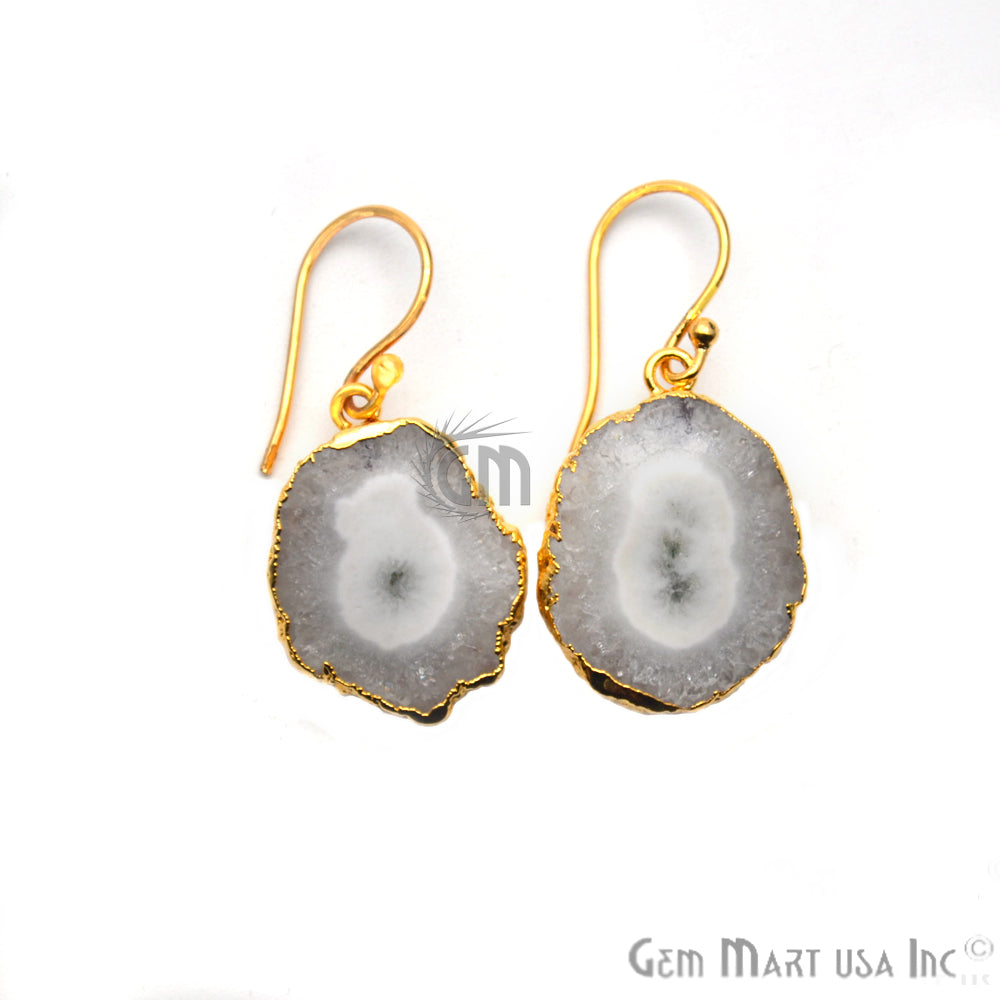 Solar Druzy Gemstone 26x19mm Gold Edge Dangle Hook Earrings