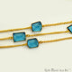 Blue Topaz 10-15mm Gold Plated Bezel Connector Chain - GemMartUSA