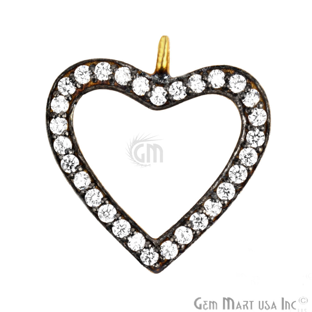 'Heart' Shape Cubic Zircon Pave Charm Gold Vermeil Charm for Bracelet Pendants & Necklace