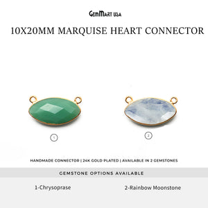 Marquise 10x20mm Gold Bezel Cat Bail Gemstone Connector