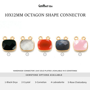 Octagon 10x12mm Cat Bail Gold Bezel Gemstone Connector