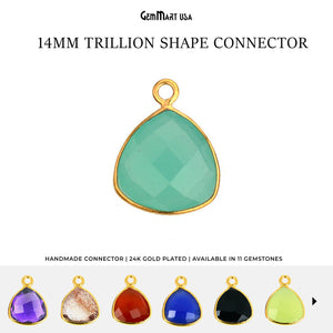Trillion 14mm Single Bail Gold Bezel Gemstone Connector