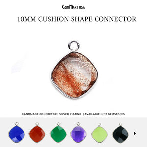 Cushion 10mm Single Bail Silver Bezel Gemstone Connector