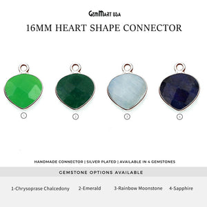 Heart 16mm Silver Bezel Single Bail Gemstone Connector (Pick Stone & Lot Size)