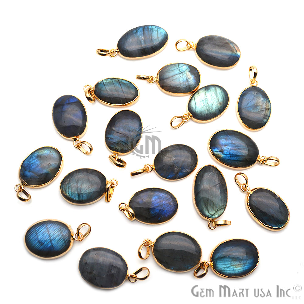 DIY Flashy Labradorite Gemstone 34x21mm Gold Edge Necklaces Pendant