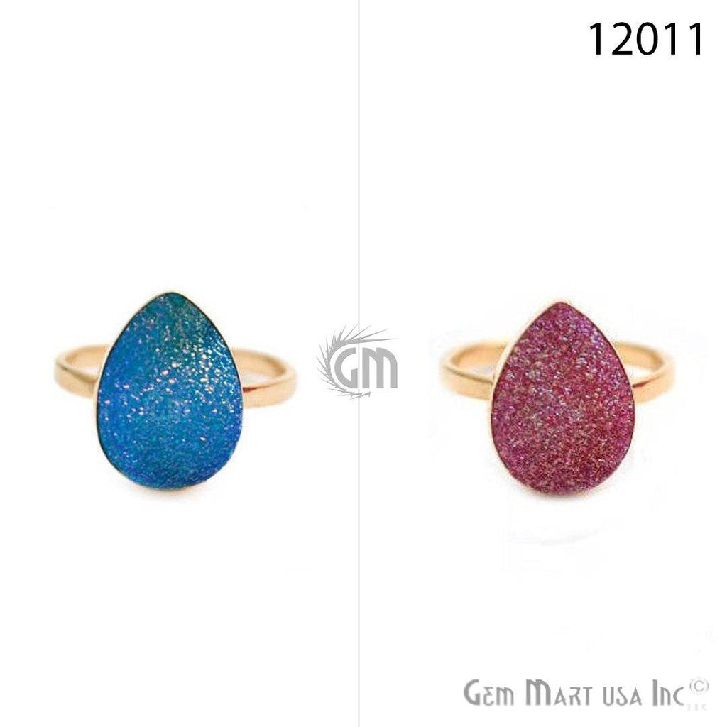 Pears Druzy Gold Plated Adjustable Fashion Jewelry Ring (12011)