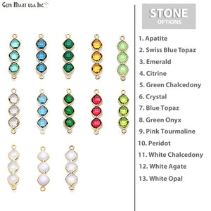 DIY Gemstone 29x7mm Gold Plated Finding Component (Pick Your Gemstone) - GemMartUSA