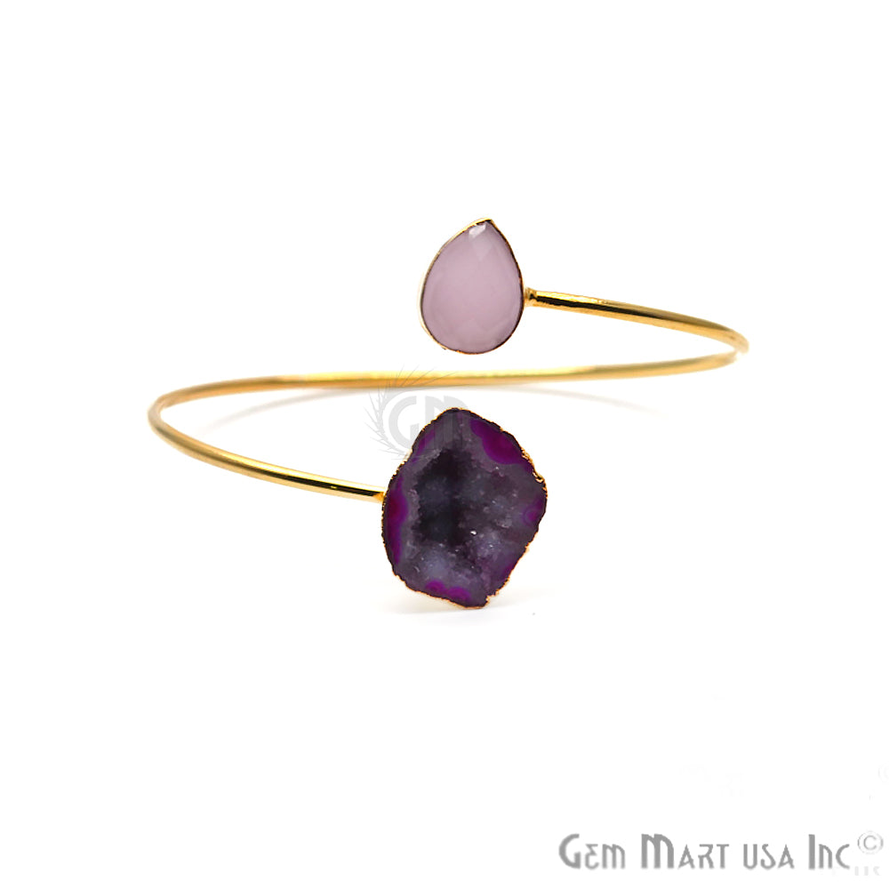Rose Chalcedony with Geode Druzy Gold Plated Adjustable Bangle Bracelet
